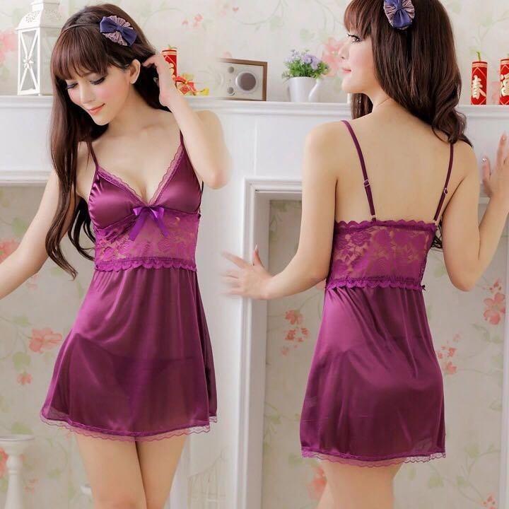 váy ngủ thun bóng phối ren thun sexy - 1091