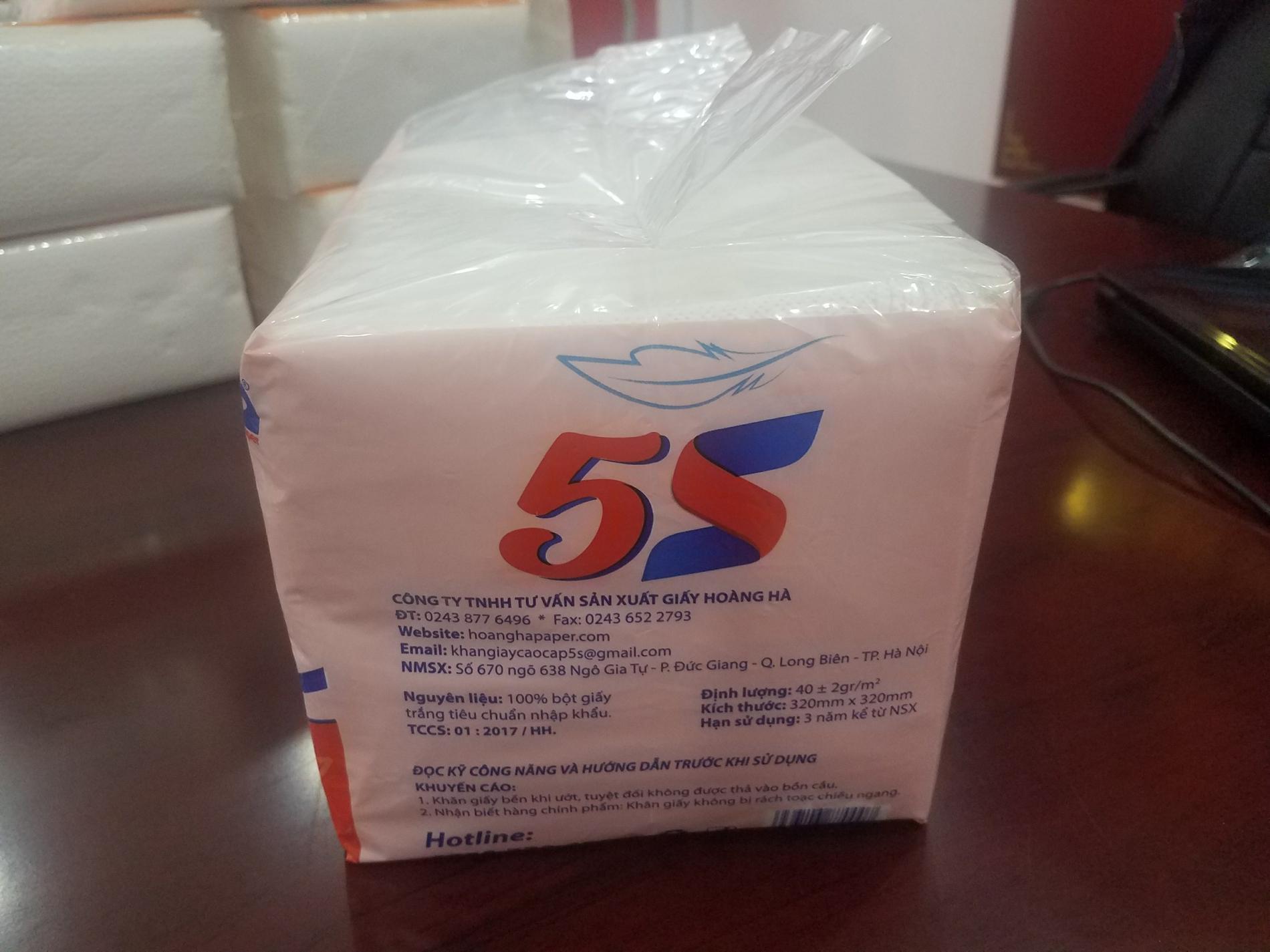 Khăn giấy khô đa năng 5S cao cấp 2 lớp bịch 1kg 32x32cm