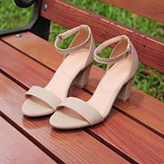 [ẢNH THẬT] Giày cao gót sandal 7 phân quai bản kem SD17 thumbnail