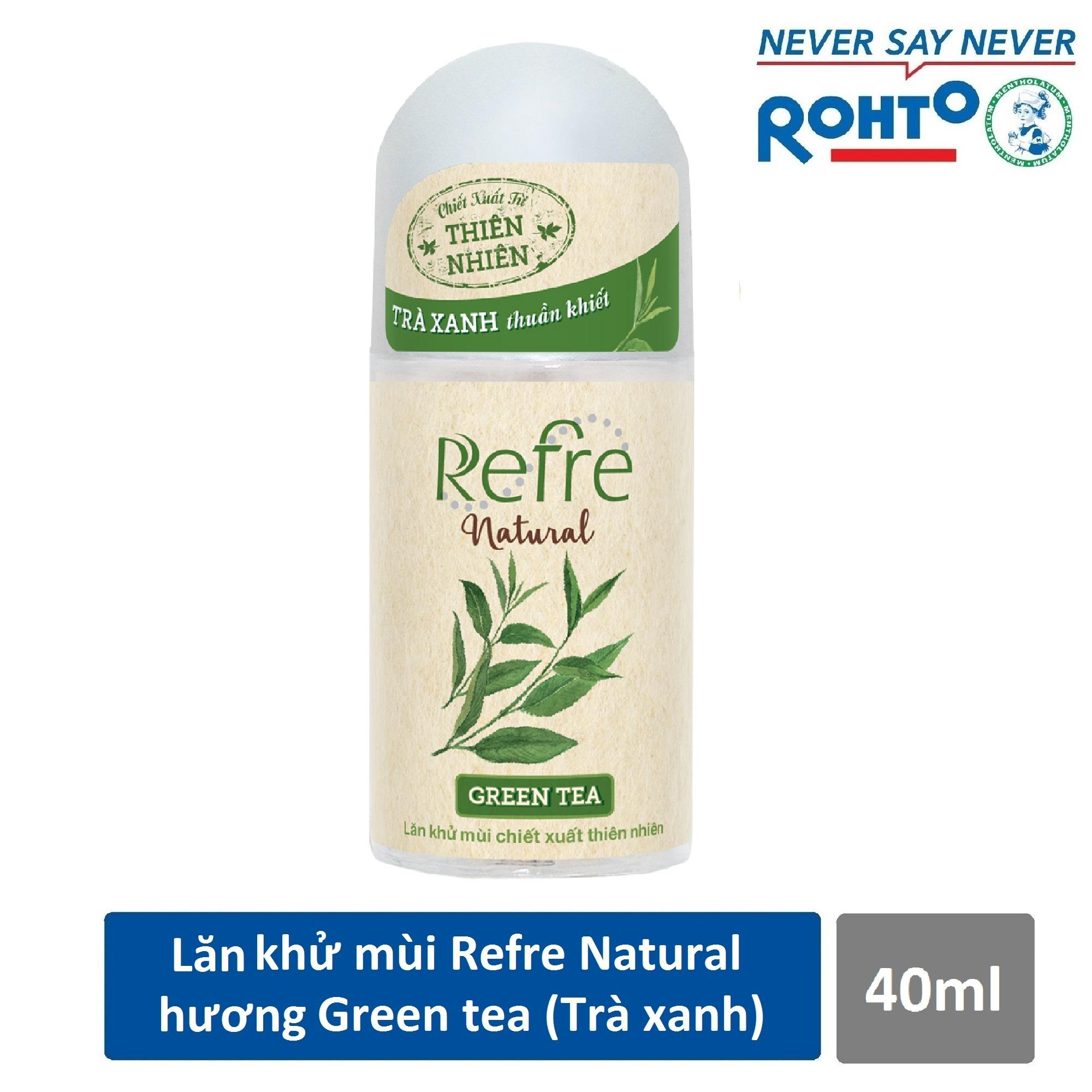 Lăn khử mùi Refre Natural Green Tea Hương Trà Xanh 40ml