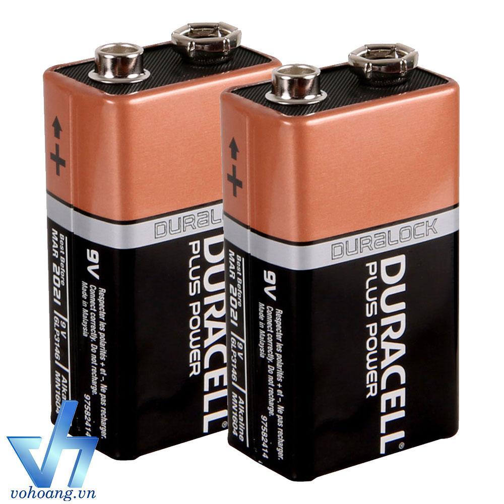 Bộ 2 Pin vuông 9V Alkaline Duracell (Nâu)