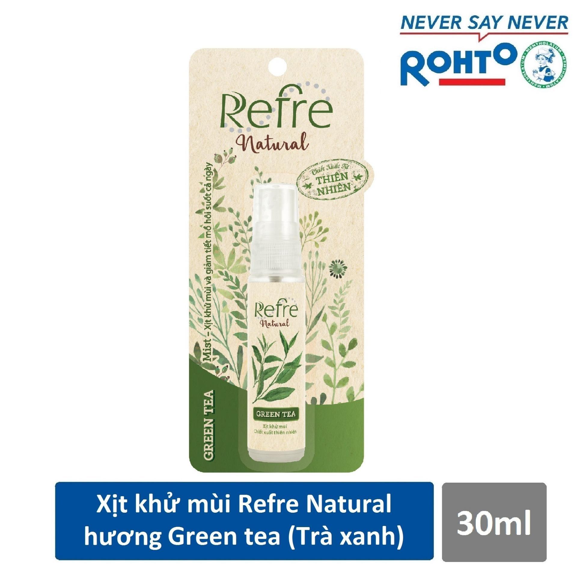 Xịt Khử Mùi Refre Natural Green Tea Hương Trà Xanh 30Ml