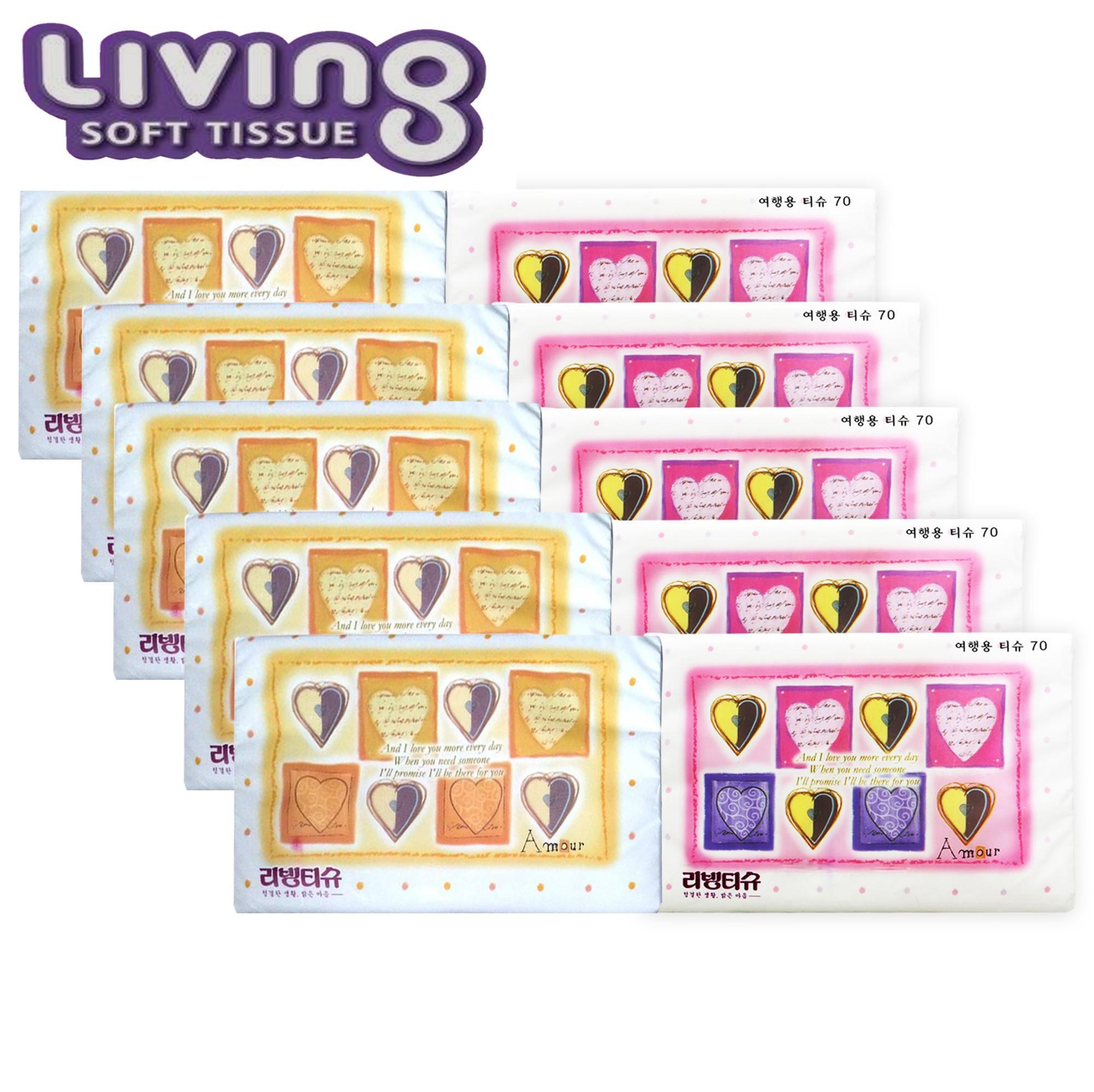 Bộ 10 gói khăn giấy du lịch cao cấp Hàn Quốc Living - loại 70 tờ/gói