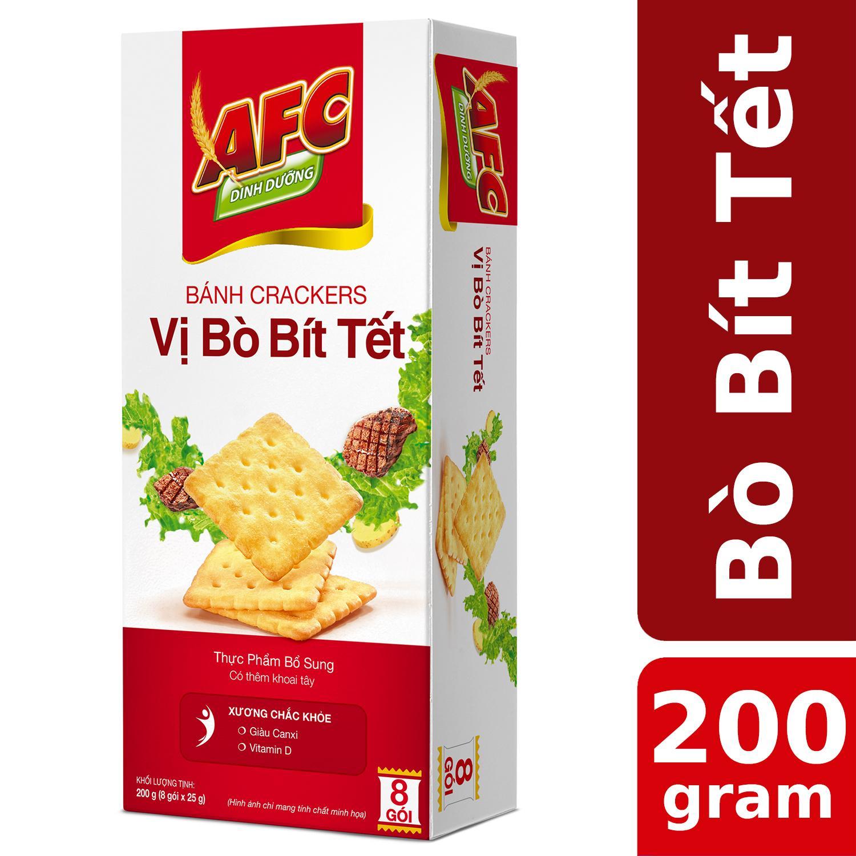 Bánh Cracker AFC Dinh Dưỡng Vị Bò Bít Tết 200g (8 gói)
