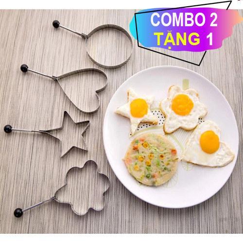 Combo 2 Tặng 1. Bộ Khuôn chiên trứng.Tạo hình bánh,cơm