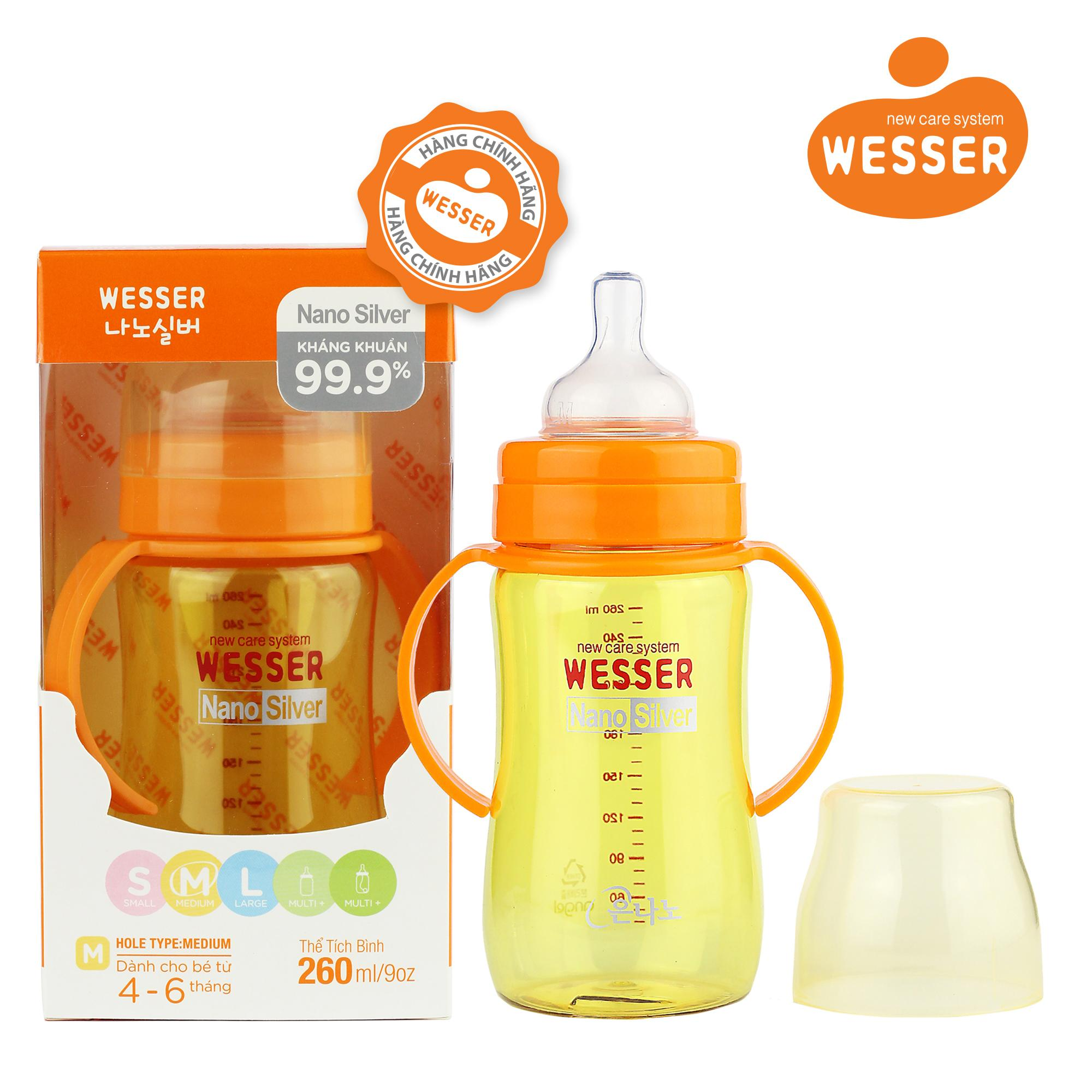 Bình sữa Wesser Nano Silver cổ rộng 260ml ( Màu...