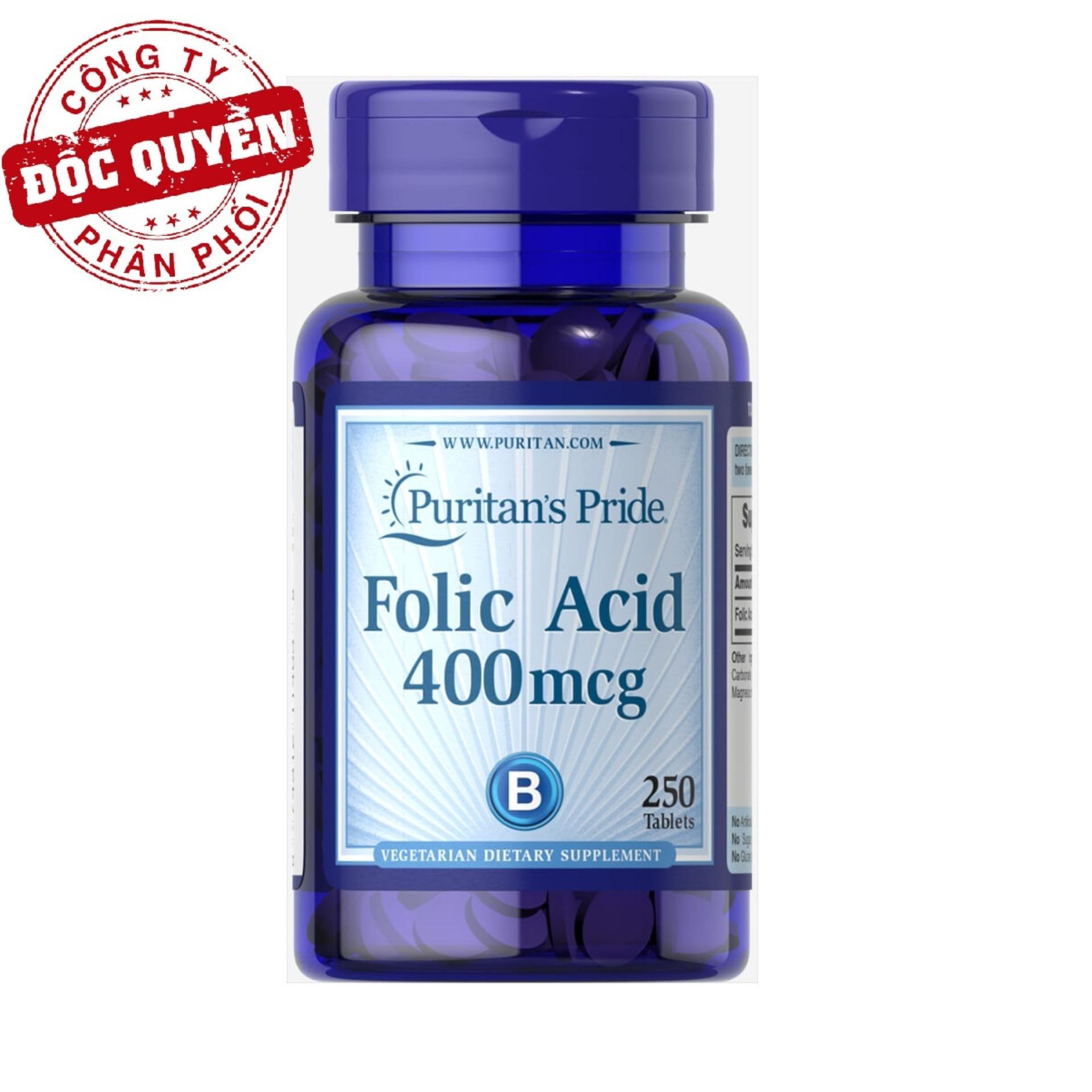 Viên uống ngăn ngừa thiếu máu Puritan's Pride Folic Acid 400mcg 250 viên HSD tháng 1/2019