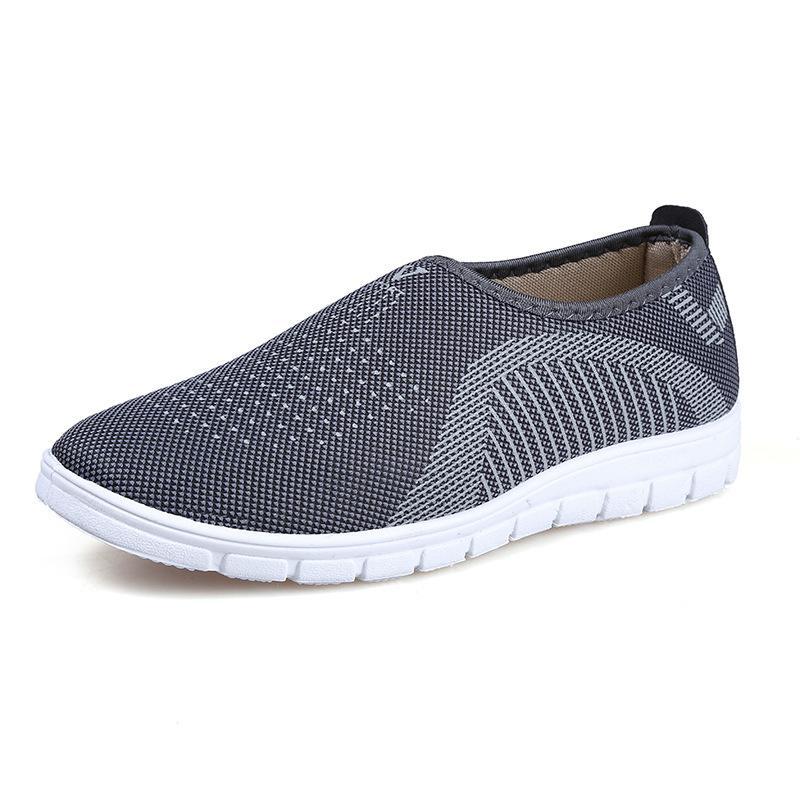 Giày lười nam phong cách êm chân thoáng khí màu ghi - chữ V - Size 39 đến 44 - V113