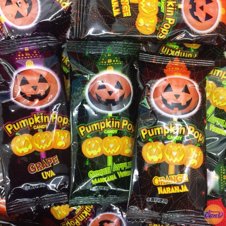 Kẹo que Pumpkin Pops Halloween lẻ (3 cây)
