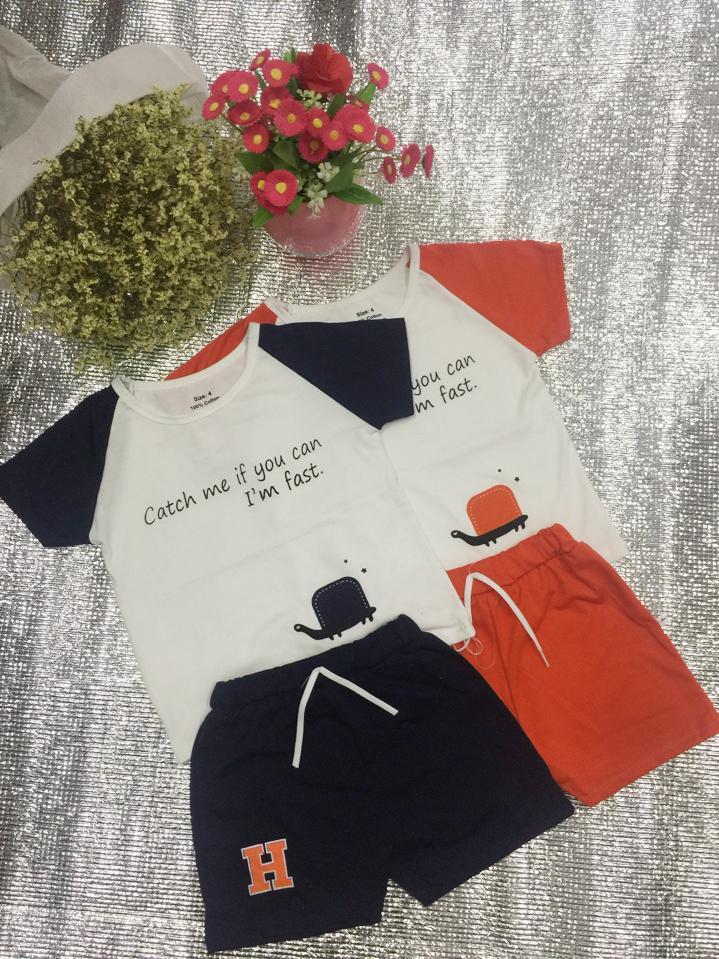 Bộ cotton hình rùa cho bé gái, bé trai BK4 loại đẹp + Tặng kèm thẻ tích điểm Trangstore