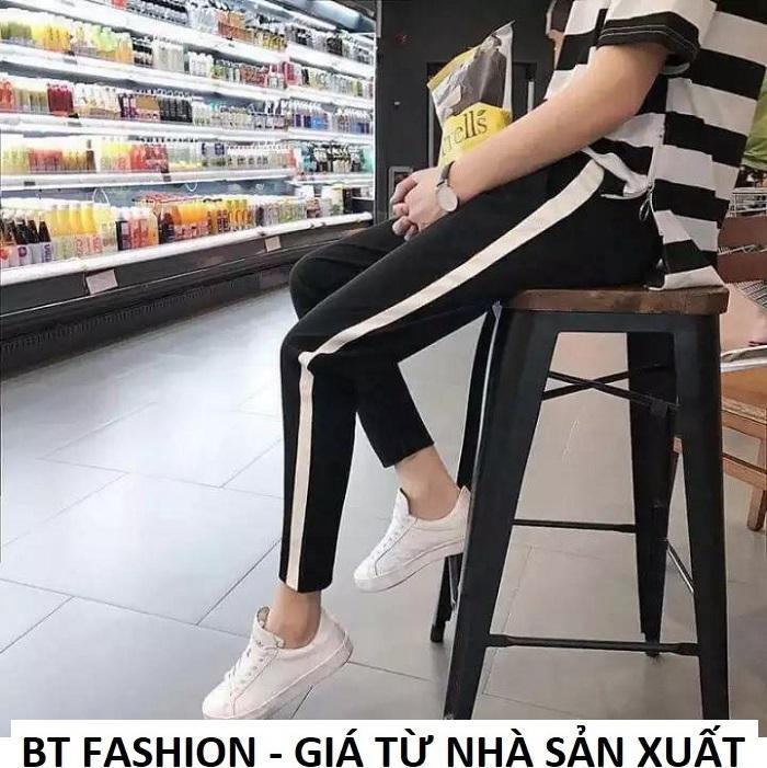 Quần Dài Nữ Thun Phom Rộng Jogger Thể Thao Thời Trang Hàn Quốc - BT Fashion (Sọc Xuông - 06)