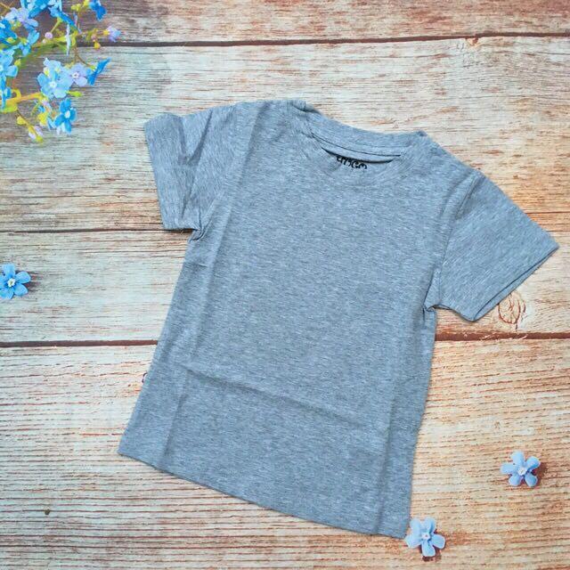 Áo bé trai thun cotton 4 chiều trơn màu xám - AT100