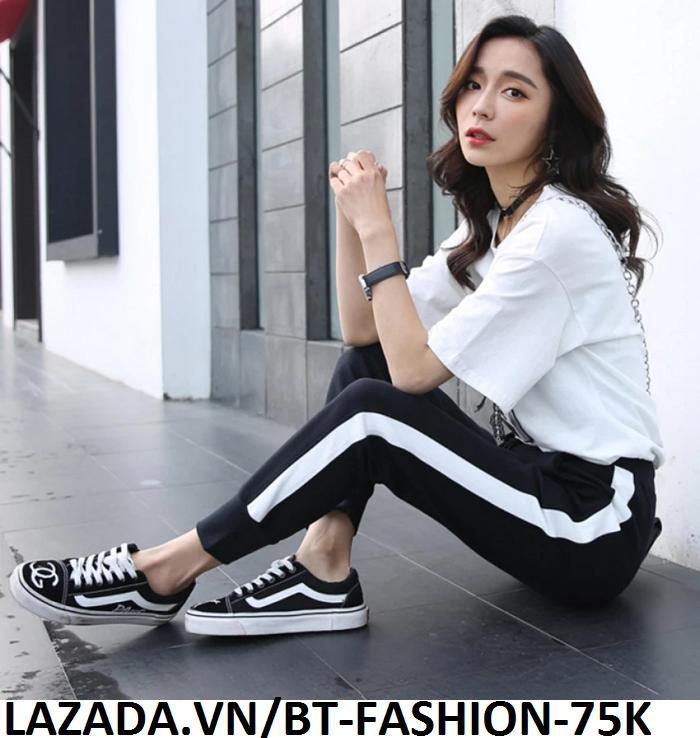 Quần Dài Nữ Thun Phom Rộng Jogger Thể Thao Thời Trang Hàn Quốc - BT Fashion (Sọc Bo - 01)