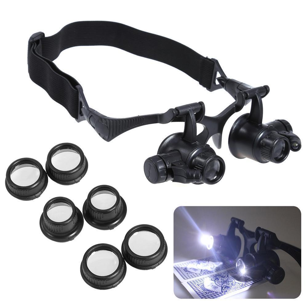Kính lúp đội đầu có đèn - Kính lúp sửa chữa, Đèn LED siêu ánh sáng, An Toàn cho mắt, Độ phóng đại đa năng 10x 15x 20x 25x- dòng sản phẩm CAO CẤP.