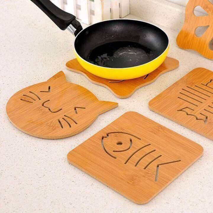 Bộ 6 đế lót nồi bằng gỗ cho xoong, nồi, bát đĩa.