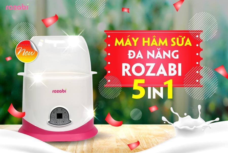 Máy hâm sữa tiệt trùng cảm ứng 5 chức năng Rozabi (Trắng hồng)