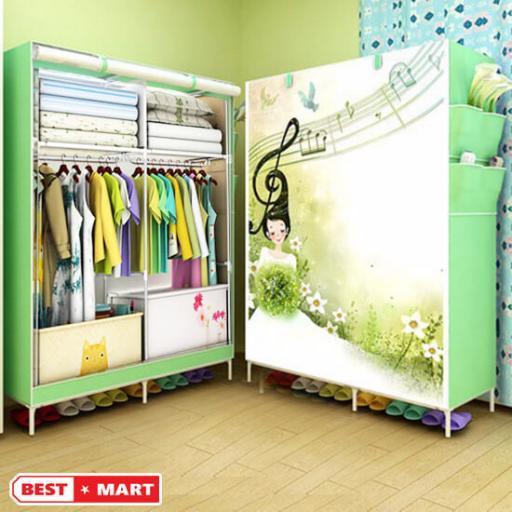 tủ vải đựng quần áo 2 buồng 6 ngăn 3d cao cáp