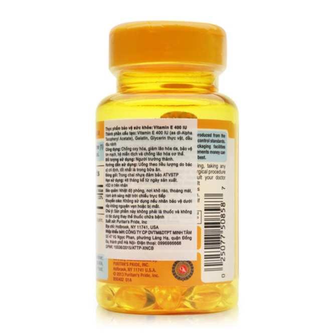 Hình ảnh Viên uống bổ sung Vitamin E giúp đẹp da, chống lão hóa, hỗ trợ hệ tim mạch Puritan's Pride Vitamin E-400 IU 50 viên HSD: 11/2020