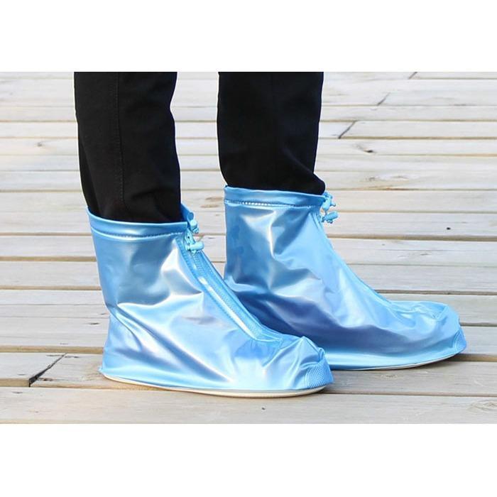 Giày nam đi mưa có dây kéo (Xanh)