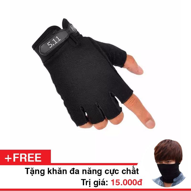 Găng tay 5.11 cụt ngón ! Tặng kèm 1 khăn đa năng Phượt