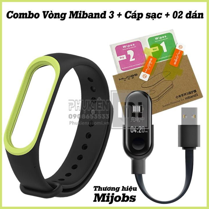 Combo Vòng thay thế Miband 3 đen viền màu Mijobs + 02 dán Miband 3 Mijobs + Cáp sạc Miband 3 ( Không kèm máy Miband3 )