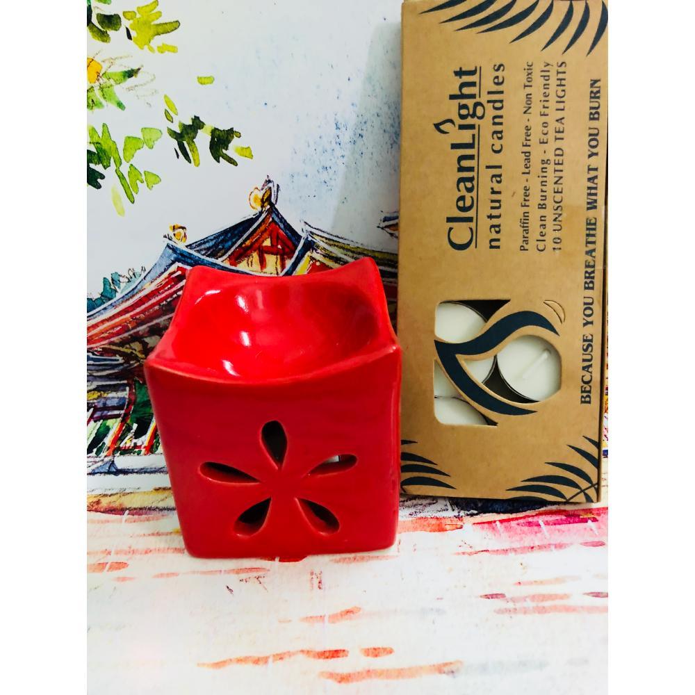 Combo đèn xông tinh dầu và hộp nến tealight 10 viên- D5