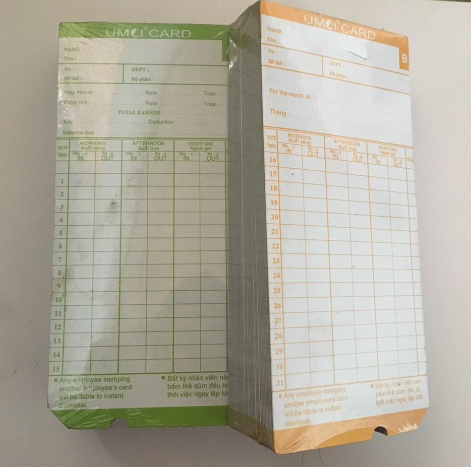 thẻ chấm công bằng giấy umei