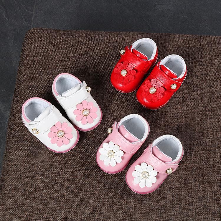 12. Giầy trẻ em - V12 - kem/hồng nhạt/đỏ - Size 15 đến 19 - 9 cánh hoa