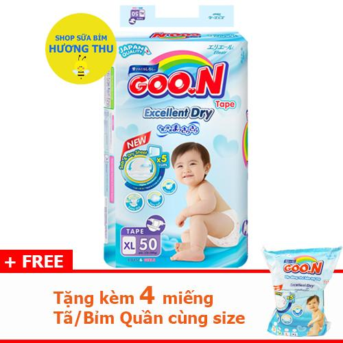 Tã/Bỉm Dán Goon Slim Size XL 50 miếng (dành cho bé 12 - 20 kg), tặng kèm 4 miếng cùng size