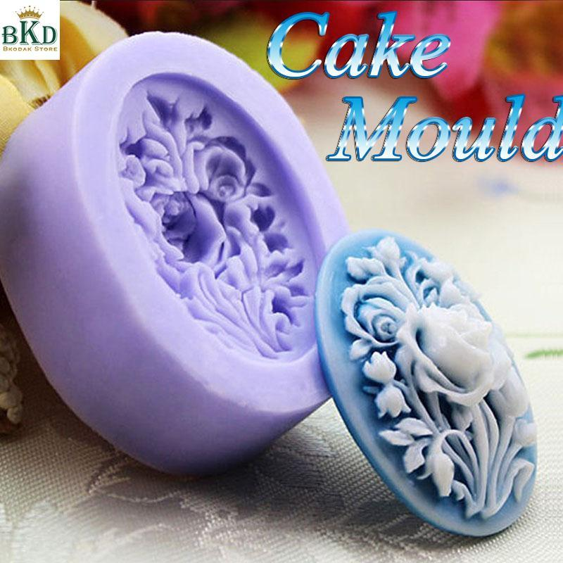 Silicone 3D Rose Flower Mold Fondant Cake Sugarcraft Candy Pastry Oval Mould