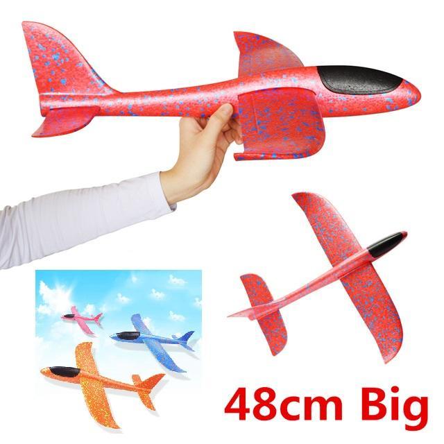 Máy bay tàu lượn phóng tay (phi tay) xốp dẻo siêu bền size lớn 48cm (KN207 TP, ĐN) - Luân Air Models