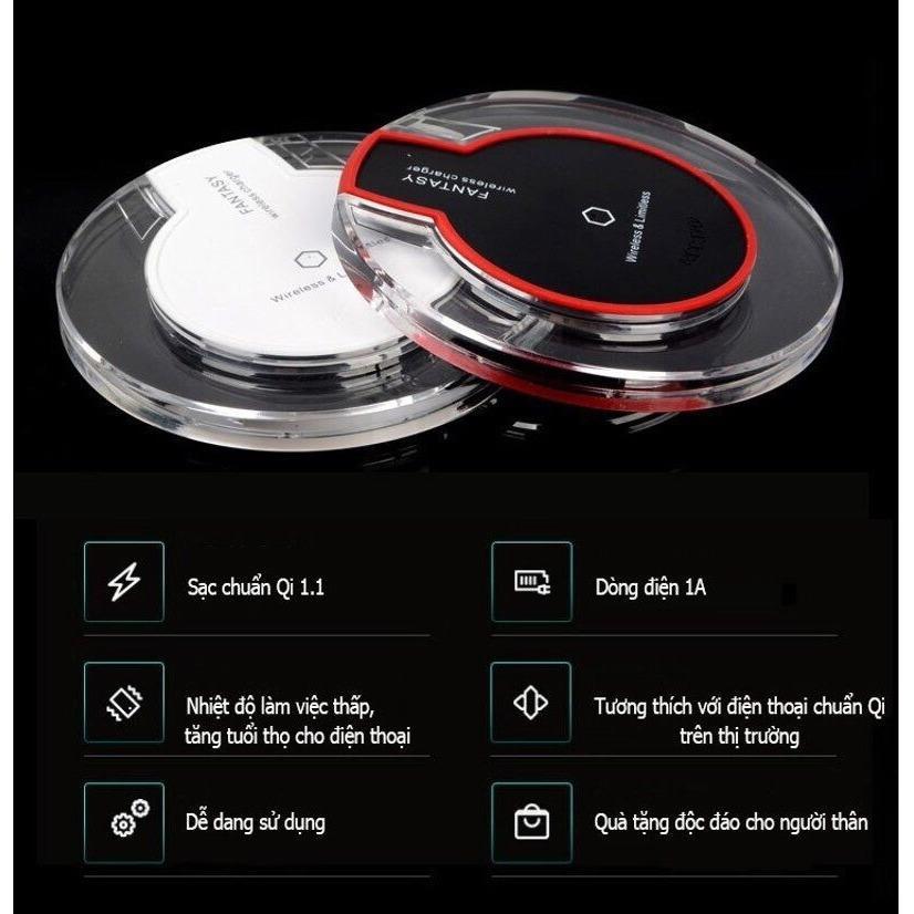 Đế sạc không dây thông minhh chuẩn Qi - Sạc nhanh 1A dùng cho các dòng điện thoại chuẩn Qi
