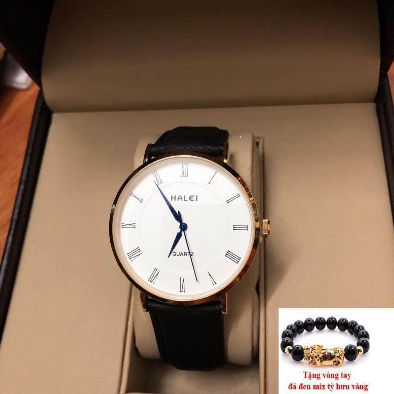 Đồng hồ nam dây da Halei mặt tròn thời thượng  TẶNG 1 vòng may mắn (dây đen mặt trắng)