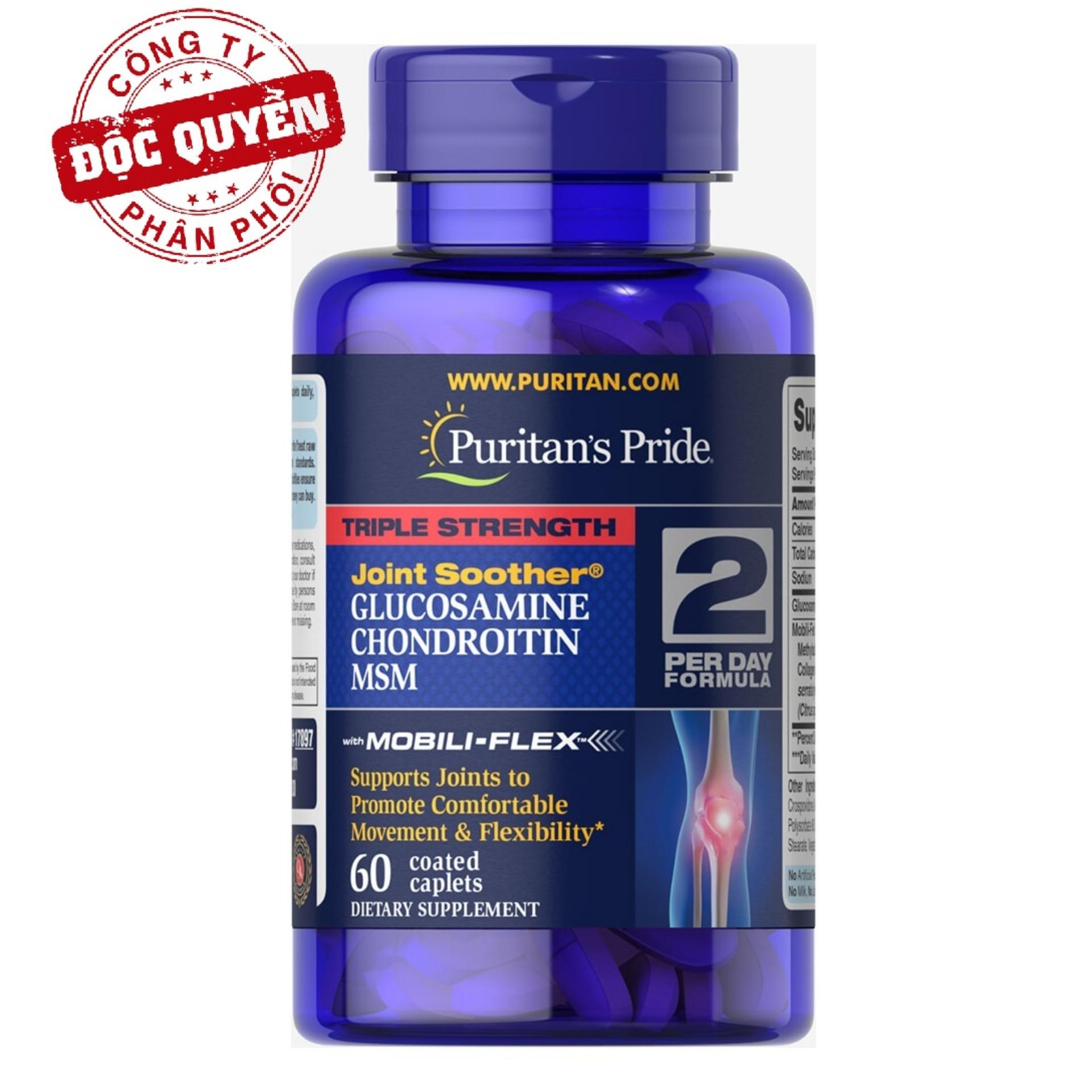 Viên uống giảm thoái hóa khớp, giảm đau viêm khớp, tăng cường dịch khớp, giúp khớp cử động linh hoạt Puritan's Pride Triple Strength Glucosamine Chondroitin & MSM 60 viên HSD tháng 8/2020
