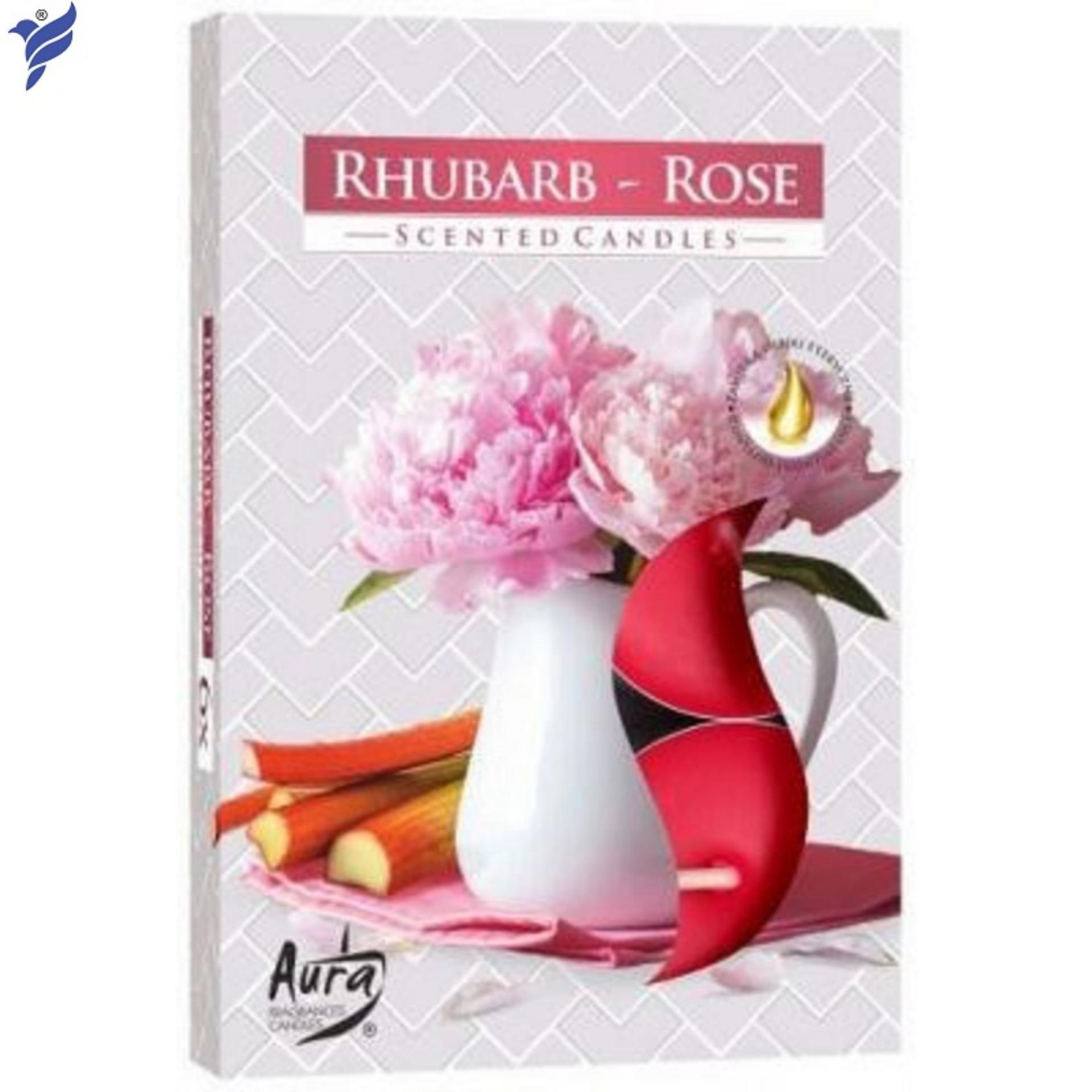 Hộp 6 nến tealight thơm Rhubarb Rose Bartek Candles FtraMart FTM-BAT0680 (Chính hãng, nhập khẩu Châu Âu)
