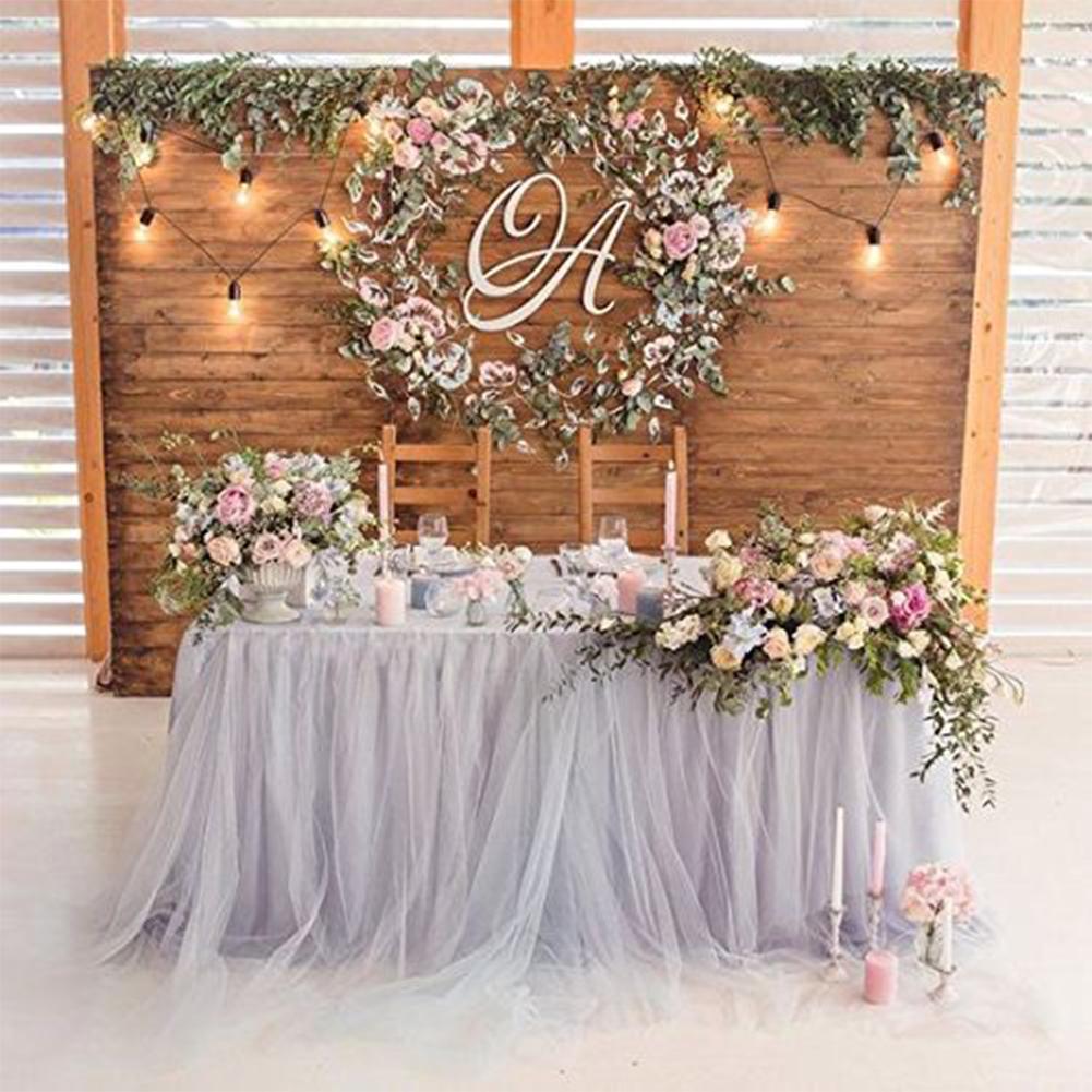 Aikang Romantic TUTU Fluffy Table Skirt Tulle Tableware Tablecloth Skirting for Baby Shower Christmas Party Wedding Cake Table Girl Princess Decoration 80cm * 91.5 cm Gray