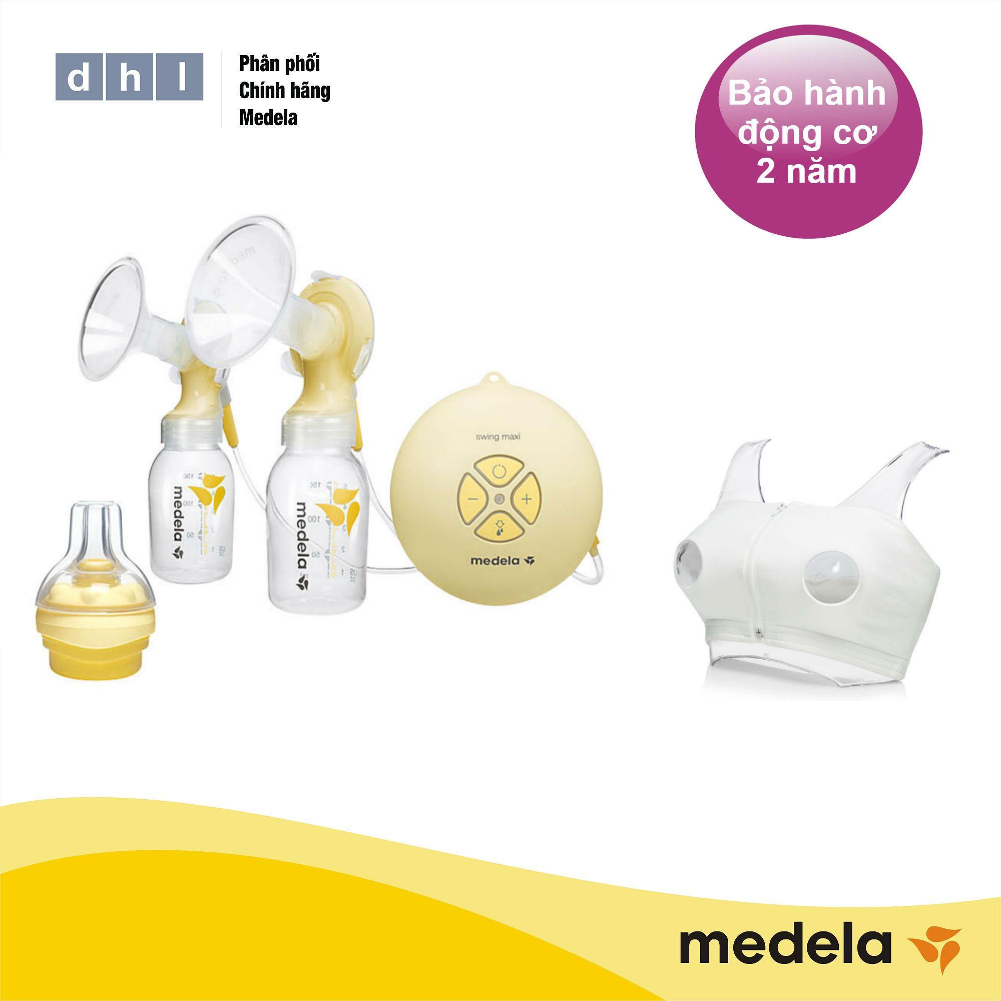 Máy hút sữa điện đôi Medela Swing Maxi - Tặng áo hút sữa rảnh tay DHL và 1 núm Calma - Hàng phân phối chính thức Medela Thụy Sĩ