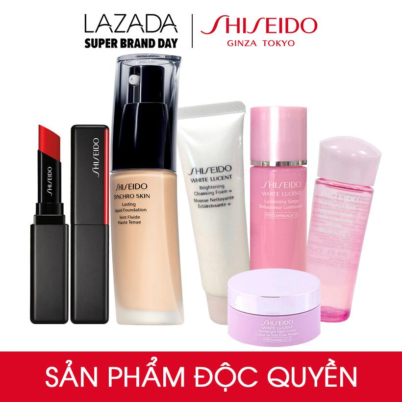 Bộ Son Shiseido Visionairy Gel Lipstick Ginza Red + phấn...