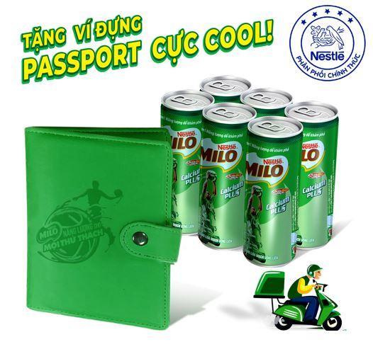 Lốc 6 Lon Nestlé MILO ® Uống Liền 6 lon x 240ml)  - tặng 01 Bao da hộ chiếu