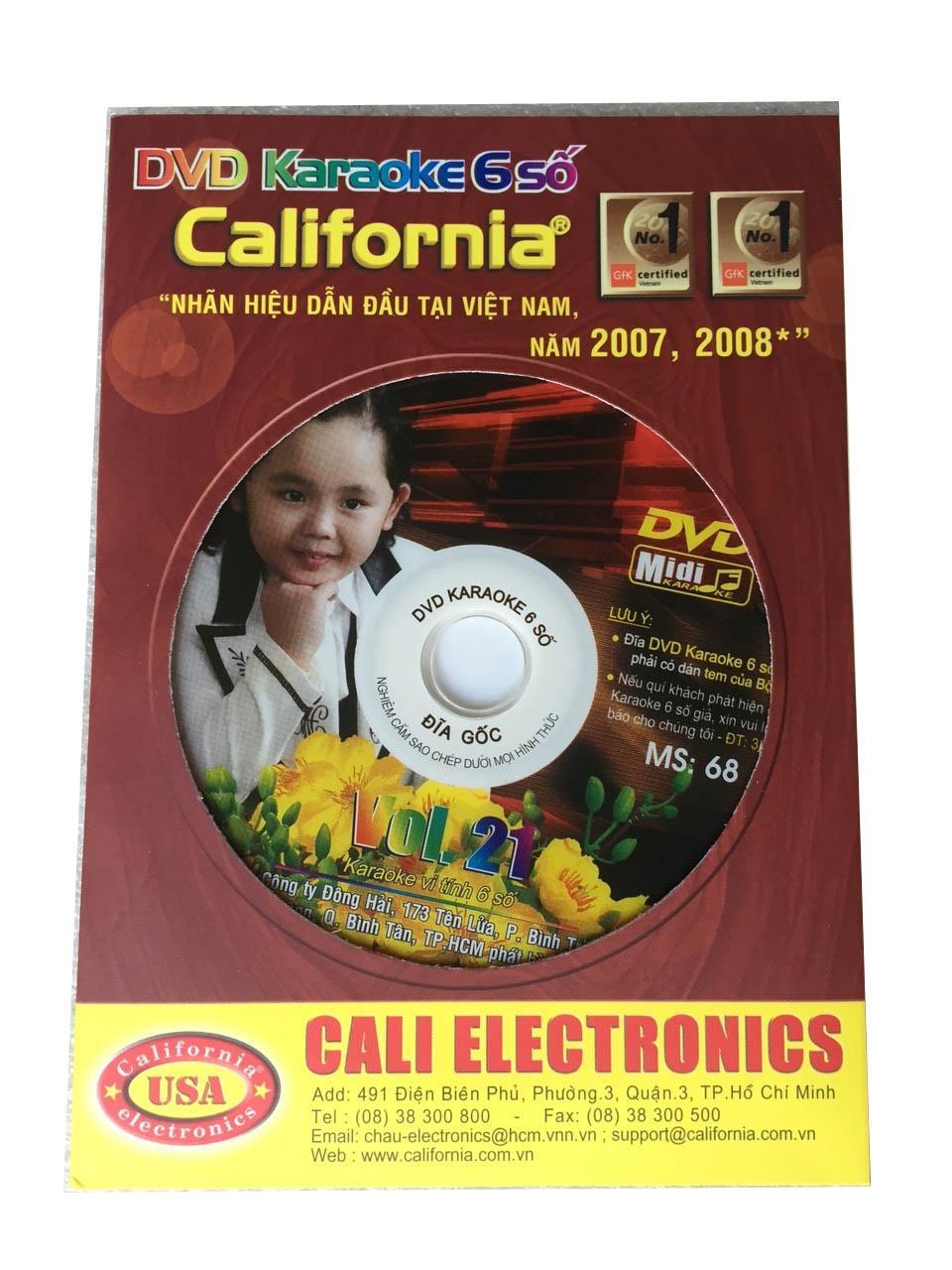 Đĩa Karaoke 6 số California Vol 21 - MS 68 (Hình 1 đứa bé) + Sách List nhạc