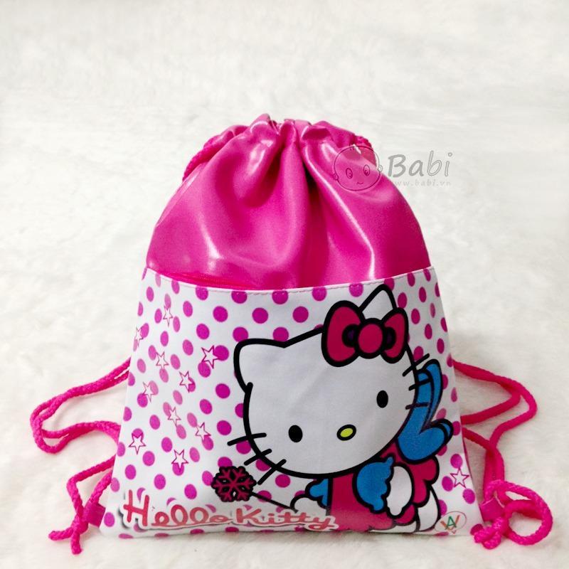 Túi rút , balo , xách tay vài dùhình 2 nàng công chúa Elsa và Anna (Frozen) màu hồng đáng yêu dành cho bé gái (Thái Lan) - FZ91475 - (32x40cm) LMS15