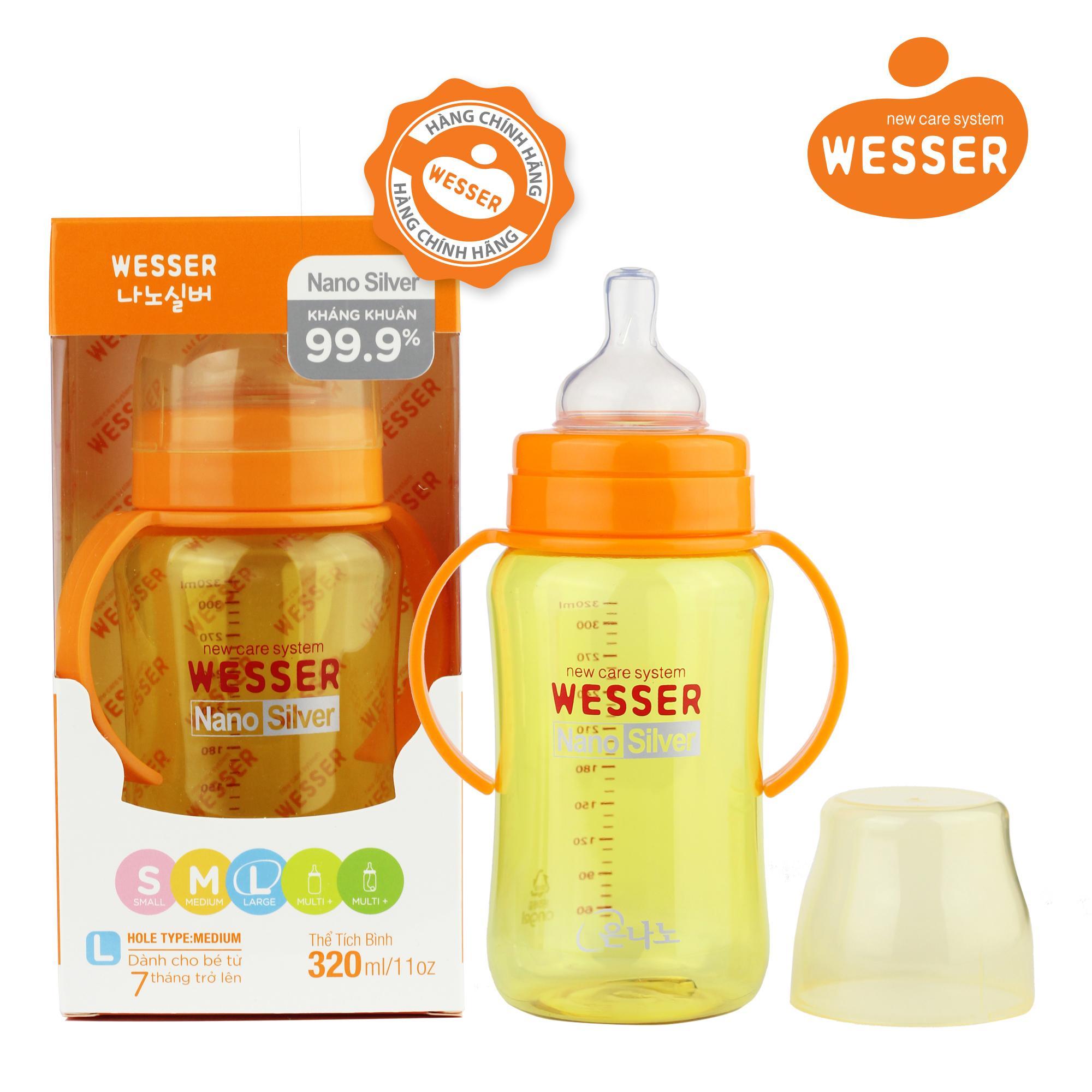 Bình sữa Wesser Nano Silver cổ rộng 320ml ( Màu...