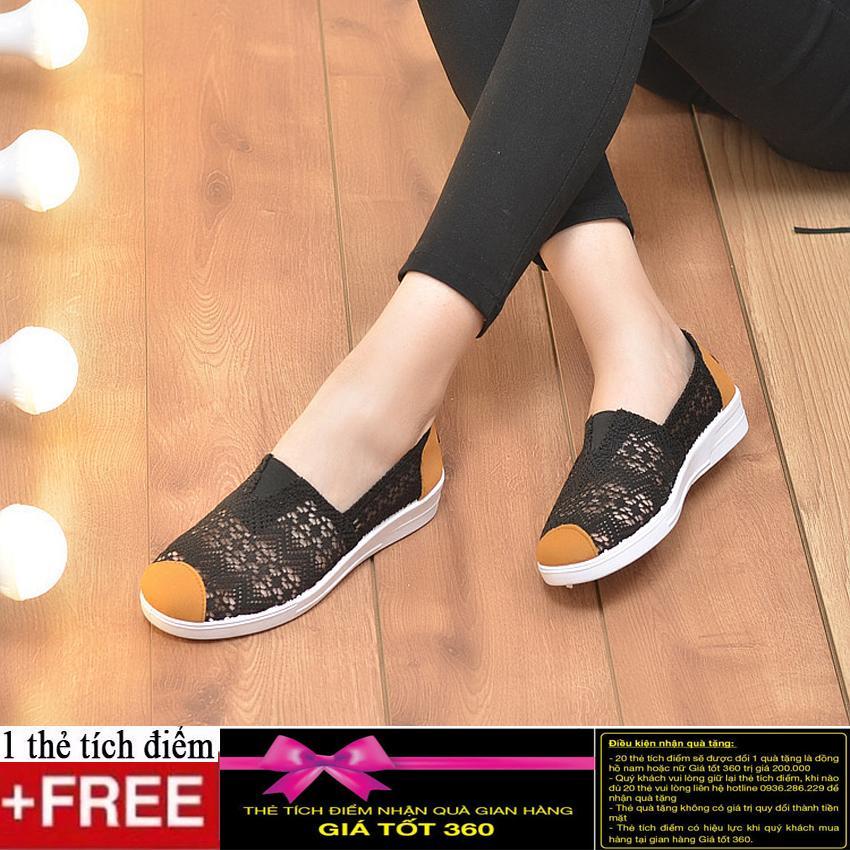 Giày Slip on vải ren cao cấp thoáng mát GTTG23