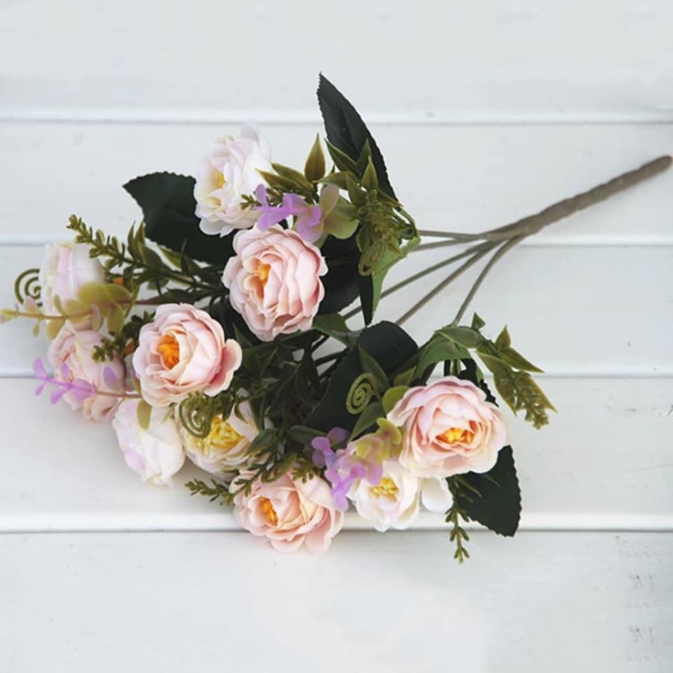 Hoa hồng trà Rosemarie trang trí siêu đẹp cành 10 bông- Hoa giả 515JA - Hoa giả cao cấp - Hoa để bàn - Hoa văn phòng