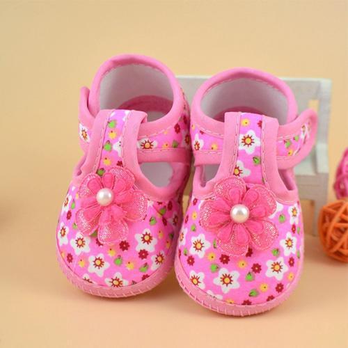 Giày tập đi đính hoa hồng dễ thương cho bé gái - TDV013-13