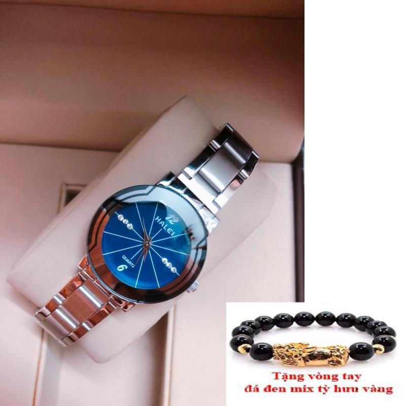 Đồng hồ Nữ mặt tròn cao cấp Halei dây thép TẶNG 1 vòng  (457 dây trắng mặt xanh)