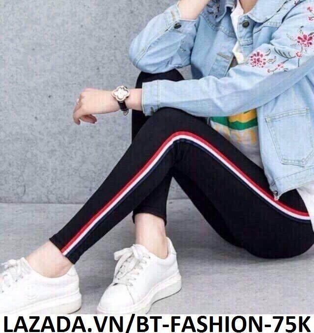 Quần Dài Nữ Thun Ôm Legging Thể Thao Thời Trang Hàn Quốc - BT Fashion (Viền 3M- 01)