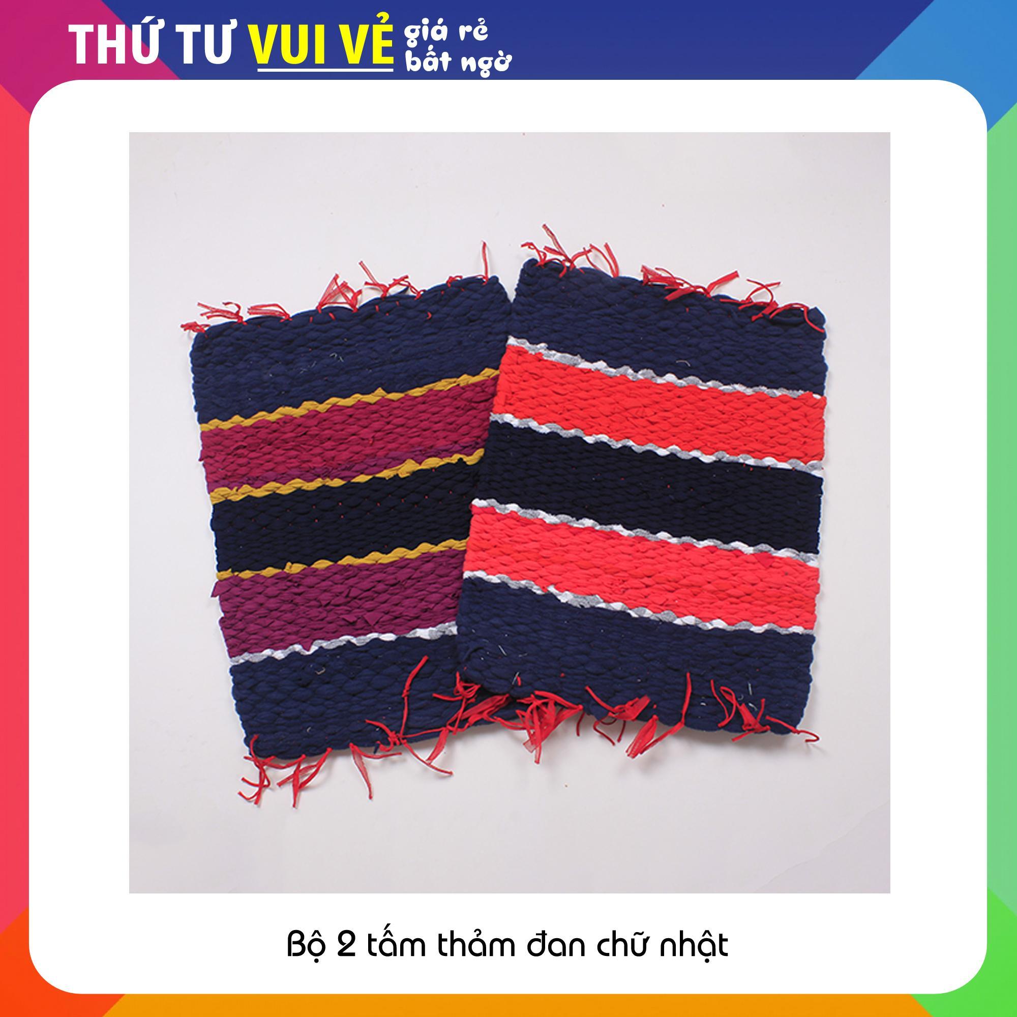 Combo 2 chiếc thảm đan chữ nhật siêu thấm hút