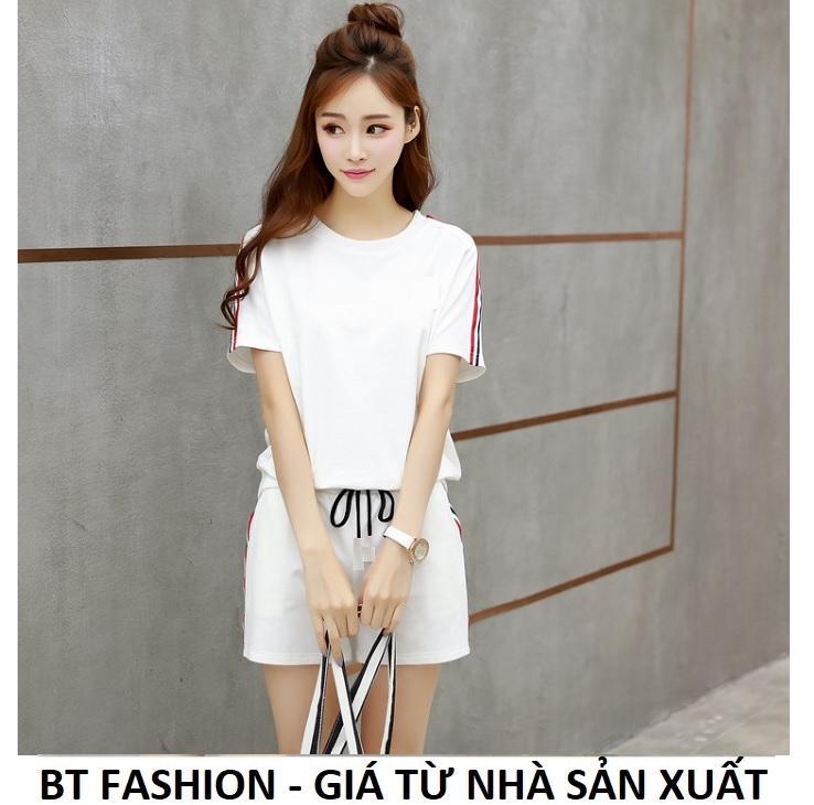 Đồ Bộ Áo Thun Nữ + Quần Đùi Sọt Thun Nữ Thể Thao, Ở Nhà, Đồ Ngủ Thời Trang Hàn Quốc Mới - BT Fashion (ĐN02-Viền3M)