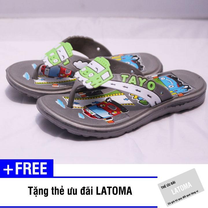 Dép xỏ ngón bé trai TAYO cao cấp Latoma TA1213 (Xám)+ Tặng kèm thẻ ưu đãi Latoma